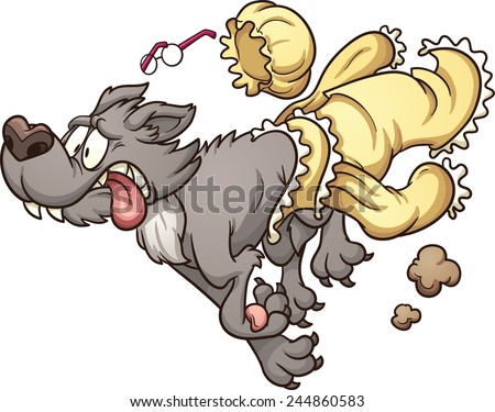 Scared wolf running and slipping off grandma's clothes. Vector clip art illustration with simple gradients. Wolf and clothes on separate layers for easy editing.  - stock vector