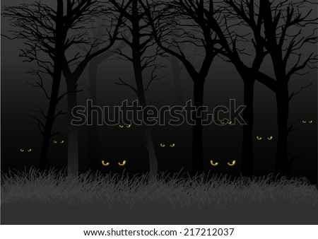 Scary eyes staring and lurking from dark woods, suitable for Halloween theme - stock vector
