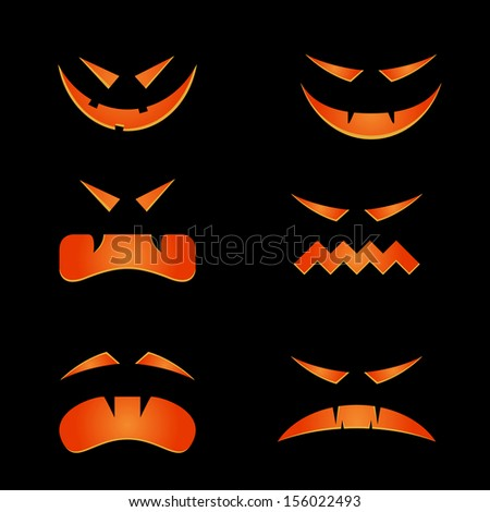 Scary faces for halloween - stock vector