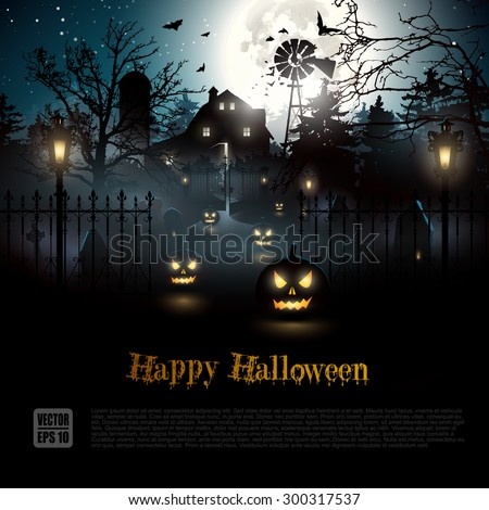 Scary graveyard and farmhouse in the woods - Halloween background - stock vector