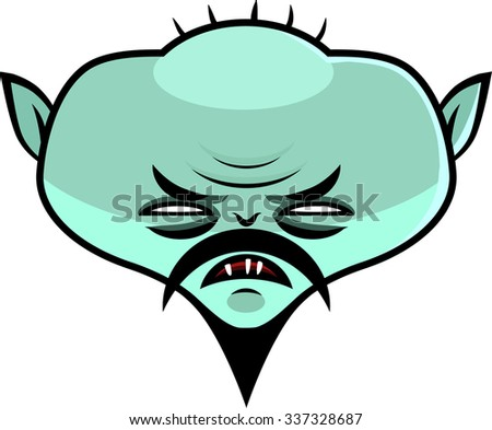Scary green asian male zombie comic hero. Halloween character artwork. Facial illustration isolated on white background easy to separate from. - stock vector