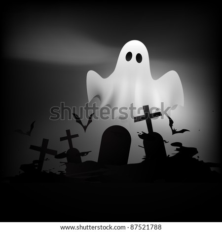 scary halloween ghost flying on grave - stock vector