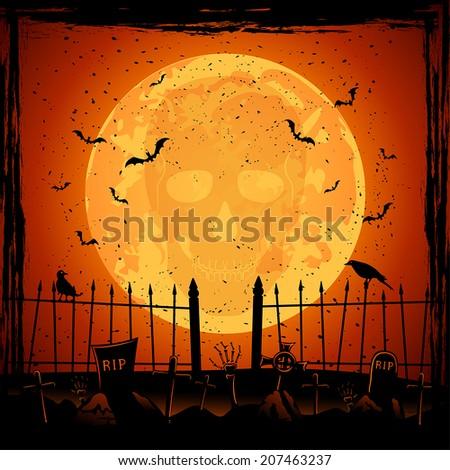 Scary Halloween night background, skull on orange Moon background, illustration. - stock vector