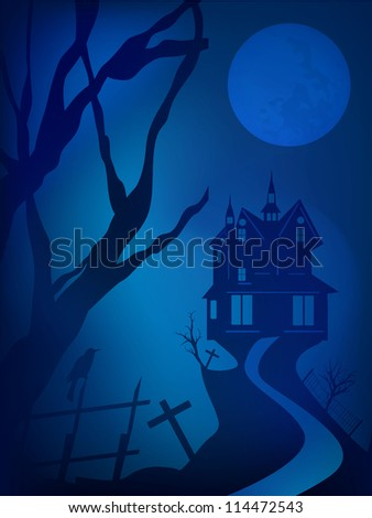 Scary Halloween night background with haunted house. EPS 10. - stock vector