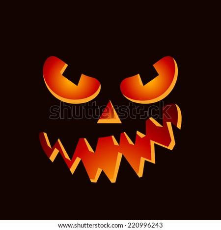 Scary Halloween pumpkin face on dark background - stock vector