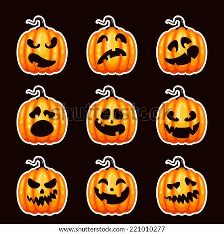 Scary Halloween pumpkin stickers - stock vector
