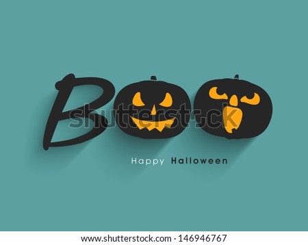 Scary Halloween Pumpkins on abstract green background.  - stock vector