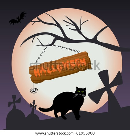 Scary halloween vector illustration - with full moon, branch, wooden sign, spider, cat and graveyard in the background - stock vector