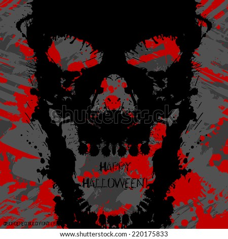 Scary Invitation for Halloween Party. Blots silhouettes card design. - stock vector