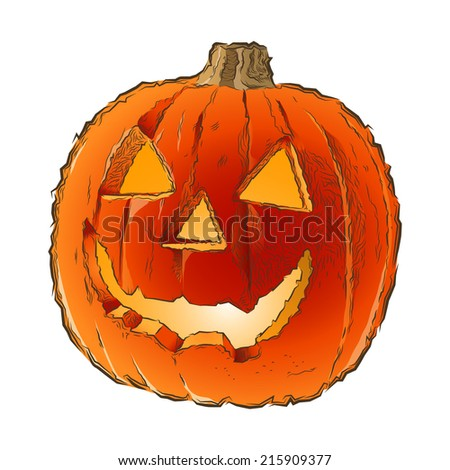 Scary Jack O Lantern halloween pumpkin with candle light inside isolated on a white background. Line art. Retro design. Vector illustration. - stock vector