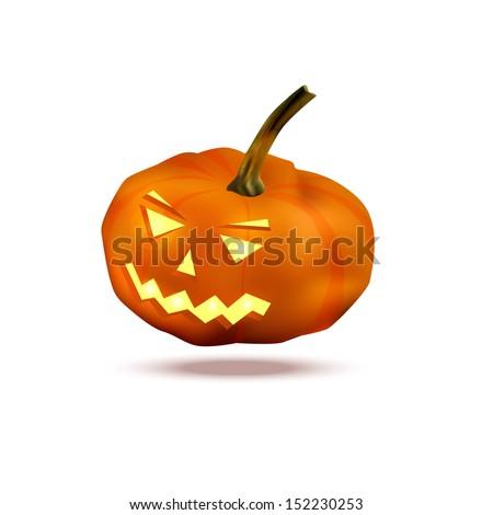 Scary Jack O Lantern halloween pumpkin with candle light inside, Vector illustration . - stock vector