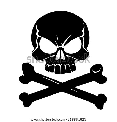 Scary Jolly Roger with bones isolated on white background - stock vector
