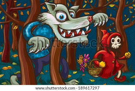 Scary Little Red Riding Hood and Big Bad Wolf. Hand-drawn vector illustration without gradients and transparencies.  - stock vector
