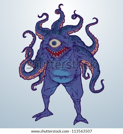 Scary monster, vector 03 - stock vector