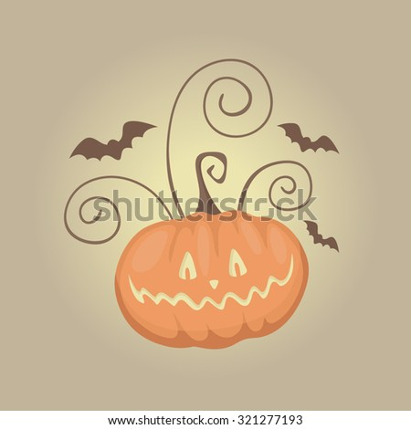 Scary orange glowing pumpkin and bats. Bright Halloween backdrop. Horror objects on brown background. Funny party card.  - stock vector