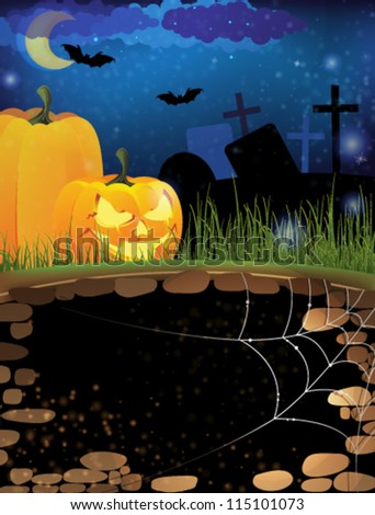 Scary pumpkin heads on a night cemetery. Abstract Halloween  background - stock vector