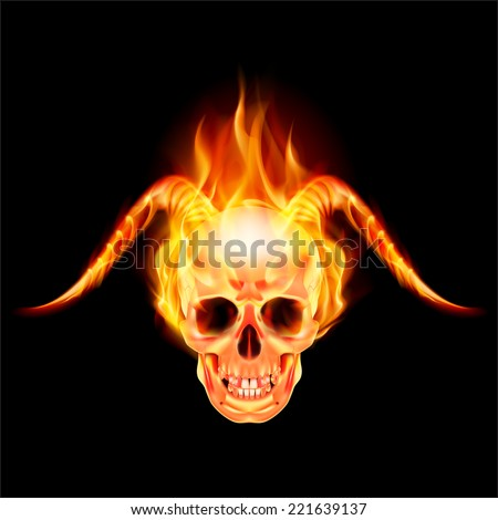 Scary skull on fire with demon flaming horns - stock vector