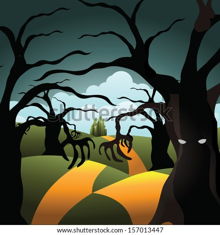 Scary tree forest on the road to the Emerald City. EPS 10 vector, grouped for easy editing. No open shapes or paths. - stock vector