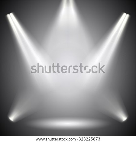 Scene illumination. Background bright lighting with spotlights. - stock vector