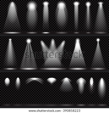 Scene illumination collection, transparent effects on a plaid dark  background. Bright lighting with spotlights. - stock vector