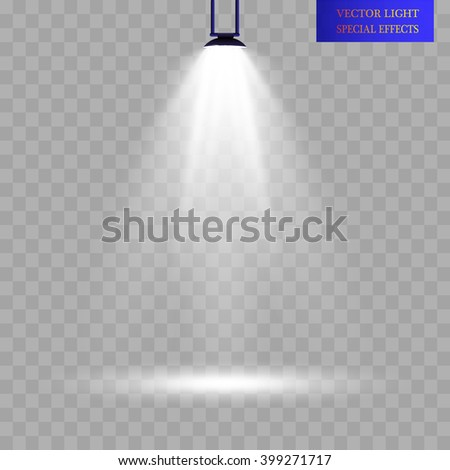 Scene illumination, transparent effects on a plaid dark background. Bright lighting with spotlights.light. - stock vector
