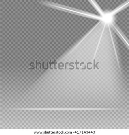 Scene illumination, transparent effects on a plaid dark background. Bright lighting with spotlights. - stock vector