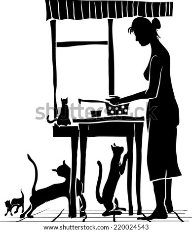Scene in the kitchen with cats - stock vector