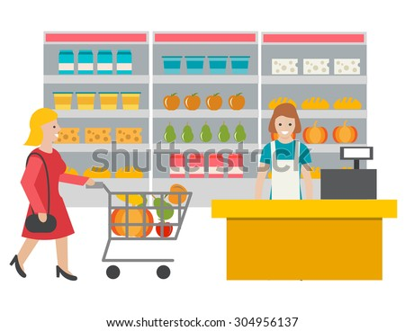 Scene in the store with cashier and buyer. Woman with cart full of grocery products. Cashier at the cash desk, vector illustration - stock vector