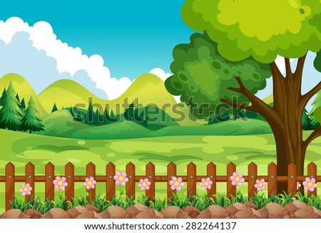 Scene of the garden with field and flowers - stock vector