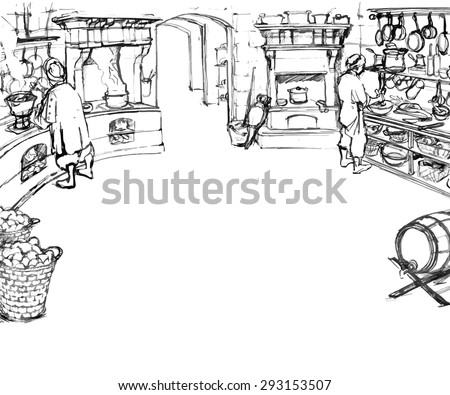 Scene of work of cooks in kitchen in an old castle. Illustration in sketchy style. Vector. - stock vector