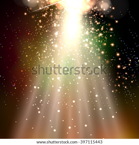 scene stage light spotlight disco party cover - stock vector
