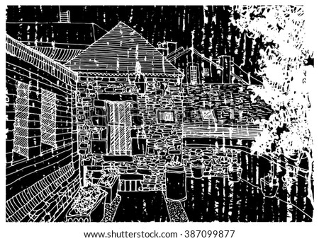 Scene street illustration. Hand drawn ink line sketch European old town,country, village, door,stones, exterior in outline style. Ink drawing of perspective view. Travel postcard. - stock vector