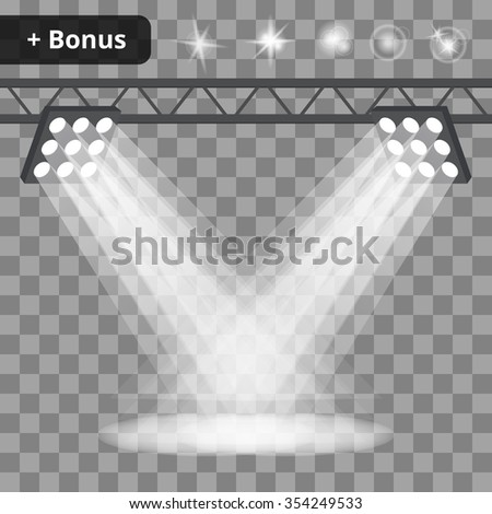 Scene with many projectors, spotlights on a transparent background. bonus with a picture of the lighting effects and reflections - stock vector