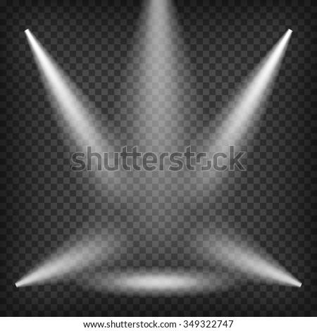 Scene With Realistic Spotlight Beams. Transparent Lighting Template. Vector. - stock vector