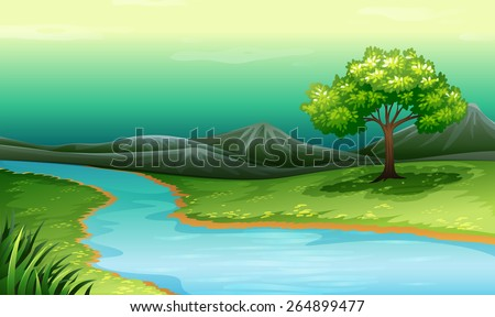 Scenery of a lake and mountain illustration - stock vector