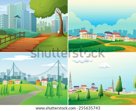 scenes of cities and parks - stock vector