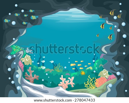 Scenic Illustration of an Underwater Cave with Colorful Fishes Swimming About - stock vector