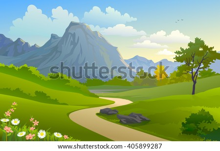 SCENIC OUTDOORS  'MOUNTAIN AND HILLY PATHWAY' - stock vector