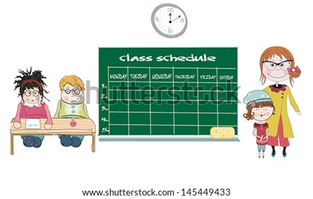 schedule of classes with students in the classroom and teacher. Vector illustration. - stock vector