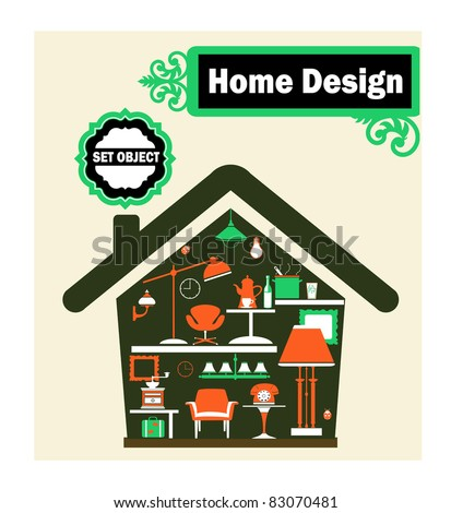 Schematic representation of the home with household items - stock vector