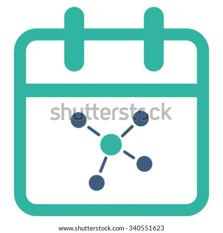 Scheme Date vector icon. Style is bicolor flat symbol, cobalt and cyan colors, rounded angles, white background. - stock vector
