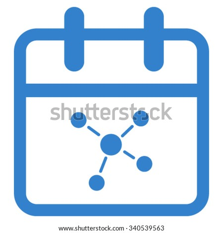 Scheme Date vector icon. Style is flat symbol, cobalt color, rounded angles, white background. - stock vector