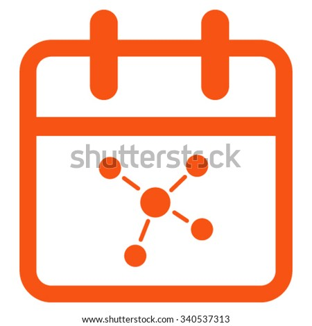 Scheme Date vector icon. Style is flat symbol, orange color, rounded angles, white background. - stock vector