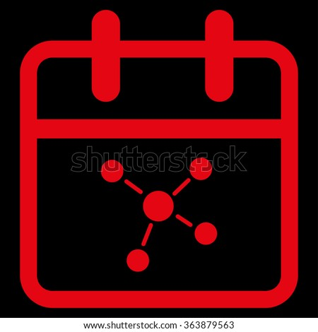Scheme Day vector icon. Style is flat symbol, red color, rounded angles, black background. - stock vector