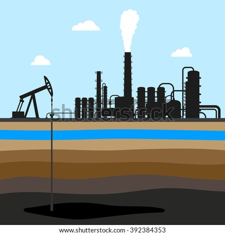 Scheme of oil production . industrial background. oil field - stock vector