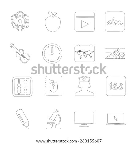 Scholastics icon line hand drawn Set 6 - stock vector