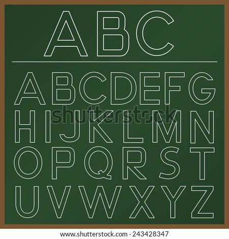 School  Alphabet  on the green board. Vector illustration. - stock vector