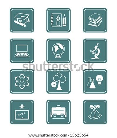 School and college education objects, tools and science symbols vector icon set. - stock vector