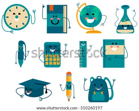 School and Education Cartoon Icons. Vector flat illustration.  - stock vector