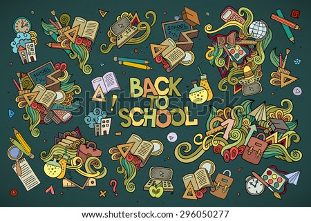 School and education doodles hand drawn vector symbols and objects - stock vector
